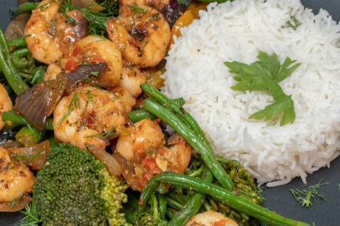 Grilled-Prawns-with-Rice-Vegetable